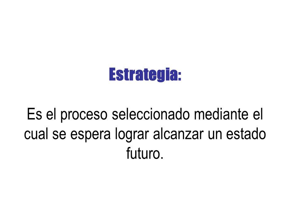 Estrategia: Es el proceso seleccionado mediante el cual se espera lograr alcanzar un estado futuro.