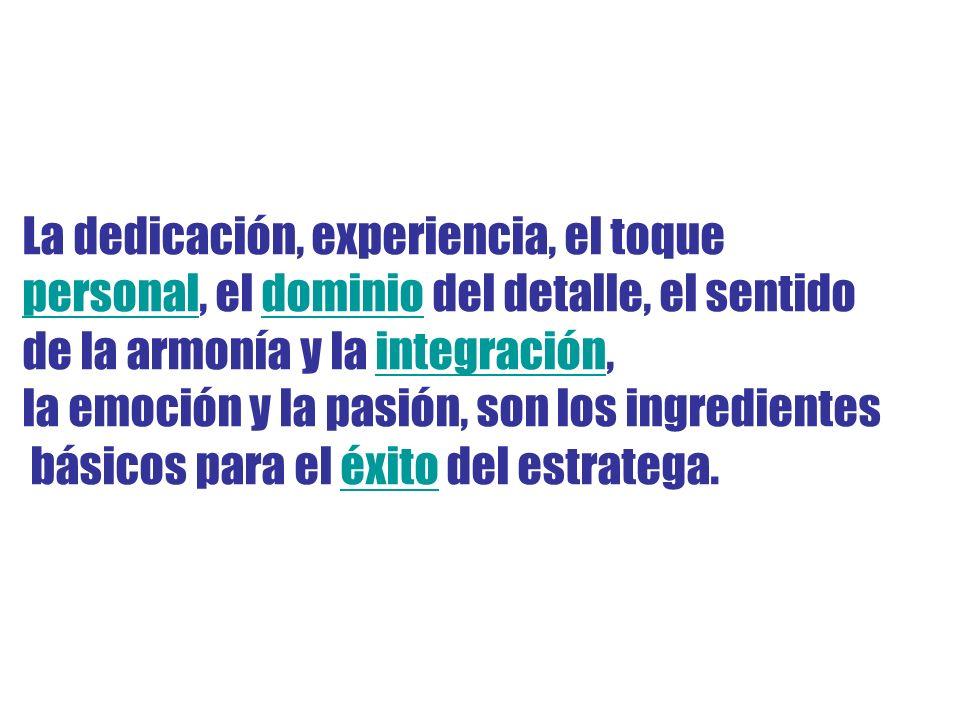 La dedicación, experiencia, el toque personalpersonal, el dominio del detalle, el sentidodominio de la armonía y la integración,integración la emoción y la pasión, son los ingredientes básicos para el éxito del estratega.éxito