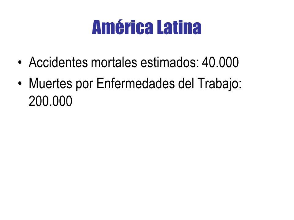 América Latina Accidentes mortales estimados: 40.000 Muertes por Enfermedades del Trabajo: 200.000