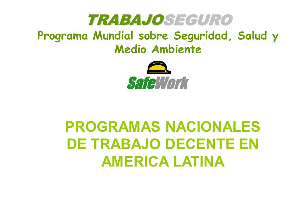 TRABAJOSEGURO Programa Mundial sobre Seguridad, Salud y Medio Ambiente PROGRAMAS NACIONALES DE TRABAJO DECENTE EN AMERICA LATINA