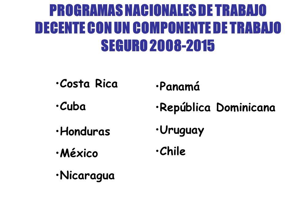 PROGRAMAS NACIONALES DE TRABAJO DECENTE CON UN COMPONENTE DE TRABAJO SEGURO 2008-2015 Costa Rica Cuba Honduras México Nicaragua Panamá República Dominicana Uruguay Chile