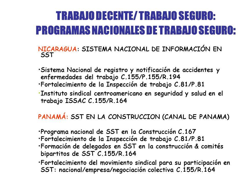 TRABAJO DECENTE/ TRABAJO SEGURO: PROGRAMAS NACIONALES DE TRABAJO SEGURO : NICARAGUA: SISTEMA NACIONAL DE INFORMACIÓN EN SST Sistema Nacional de registro y notificación de accidentes y enfermedades del trabajo C.155/P.155/R.194 Fortalecimiento de la Inspección de trabajo C.81/P.81 Instituto sindical centroamericano en seguridad y salud en el trabajo ISSAC C.155/R.164 PANAMÁ: SST EN LA CONSTRUCCION (CANAL DE PANAMA) Programa nacional de SST en la Construcción C.167 Fortalecimiento de la Inspección de trabajo C.81/P.81 Formación de delegados en SST en la construcción & comités bipartitos de SST C.155/R.164 Fortalecimiento del movimiento sindical para su participación en SST: nacional/empresa/negociación colectiva C.155/R.164