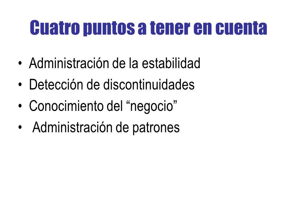Cuatro puntos a tener en cuenta Administración de la estabilidad Detección de discontinuidades Conocimiento del negocio Administración de patrones