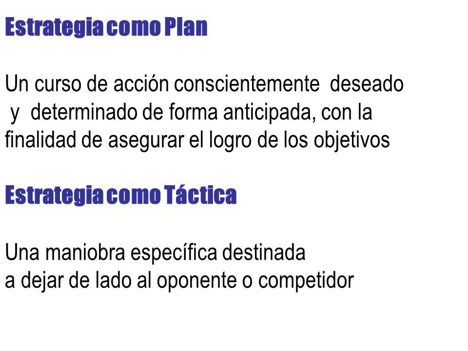 Estrategia como Plan Un curso de acción conscientemente deseado y determinado de forma anticipada, con la finalidad de asegurar el logro de los objetivos Estrategia como Táctica Una maniobra específica destinada a dejar de lado al oponente o competidor