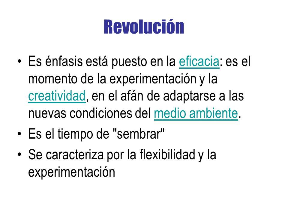 Revolución Es énfasis está puesto en la eficacia: es el momento de la experimentación y la creatividad, en el afán de adaptarse a las nuevas condiciones del medio ambiente.eficacia creatividadmedio ambiente Es el tiempo de sembrar Se caracteriza por la flexibilidad y la experimentación