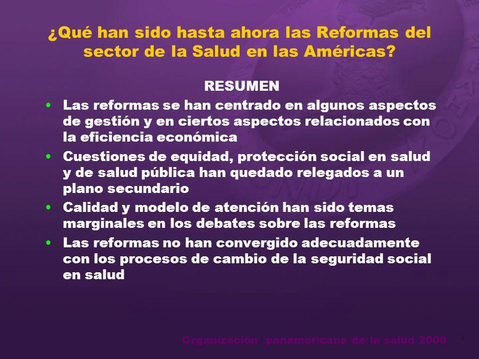 Organización panamericana de la salud 2000 3 ¿Qué han sido hasta ahora las Reformas del sector de la Salud en las Américas.
