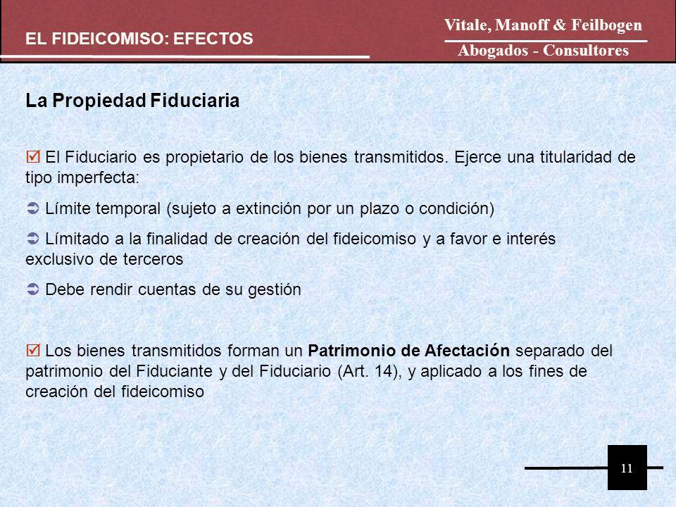 11 La Propiedad Fiduciaria El Fiduciario es propietario de los bienes transmitidos. Ejerce una titularidad de tipo imperfecta: Límite temporal (sujeto