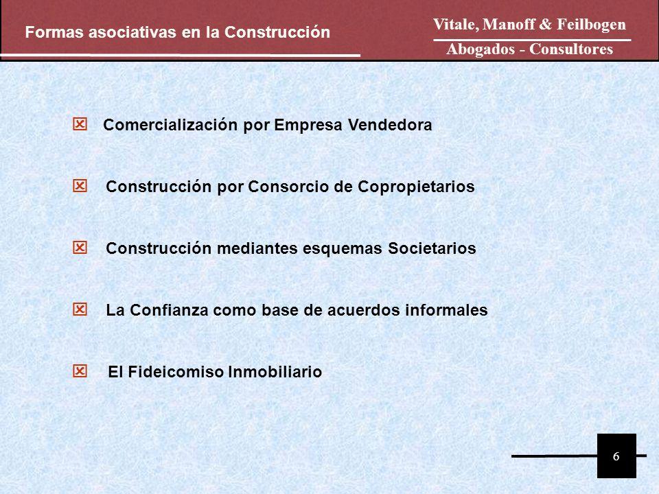 Comercialización por Empresa Vendedora Construcción por Consorcio de Copropietarios Construcción mediantes esquemas Societarios La Confianza como base