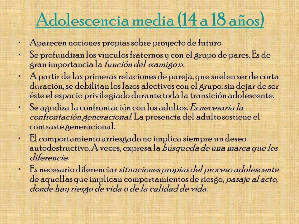 Adolescencia tardía (18 a 28 o más años) Paulatinamente, los jóvenes se van insertando en el mundo laboral.