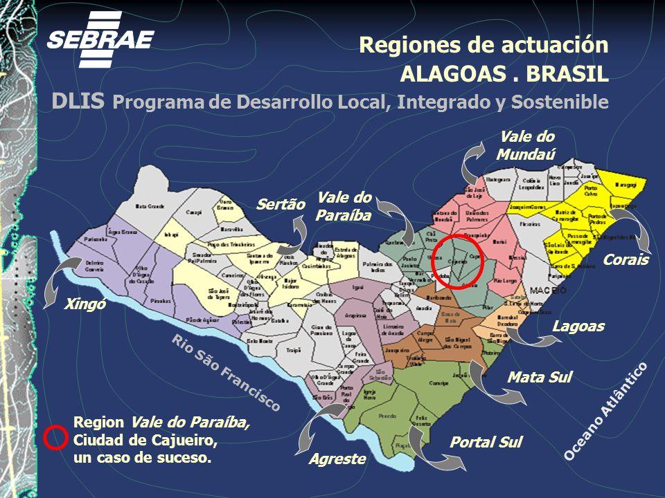 Rio São Francisco Oceano Atlântico Regiones de actuación ALAGOAS. BRASIL DLIS Programa de Desarrollo Local, Integrado y Sostenible Xingó Sertão Agrest