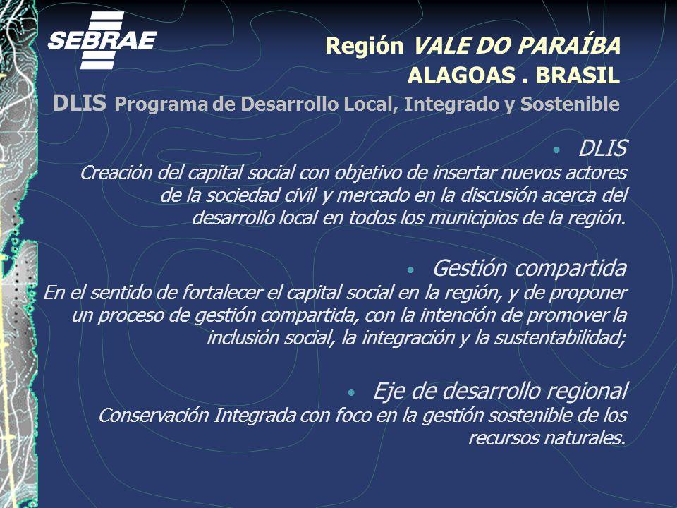 Región VALE DO PARAÍBA ALAGOAS. BRASIL DLIS Programa de Desarrollo Local, Integrado y Sostenible DLIS Creación del capital social con objetivo de inse