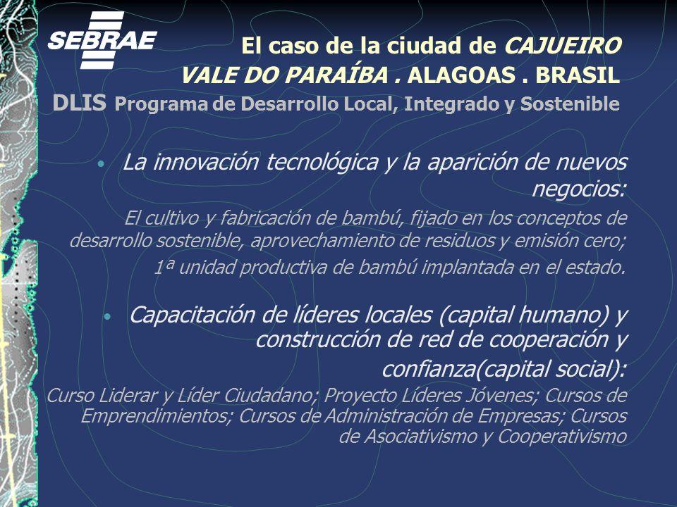 El caso de la ciudad de CAJUEIRO VALE DO PARAÍBA. ALAGOAS. BRASIL DLIS Programa de Desarrollo Local, Integrado y Sostenible La innovación tecnológica