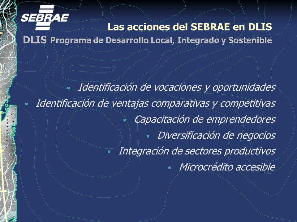 Las acciones del SEBRAE en DLIS DLIS Programa de Desarrollo Local, Integrado y Sostenible Identificación de vocaciones y oportunidades Identificación