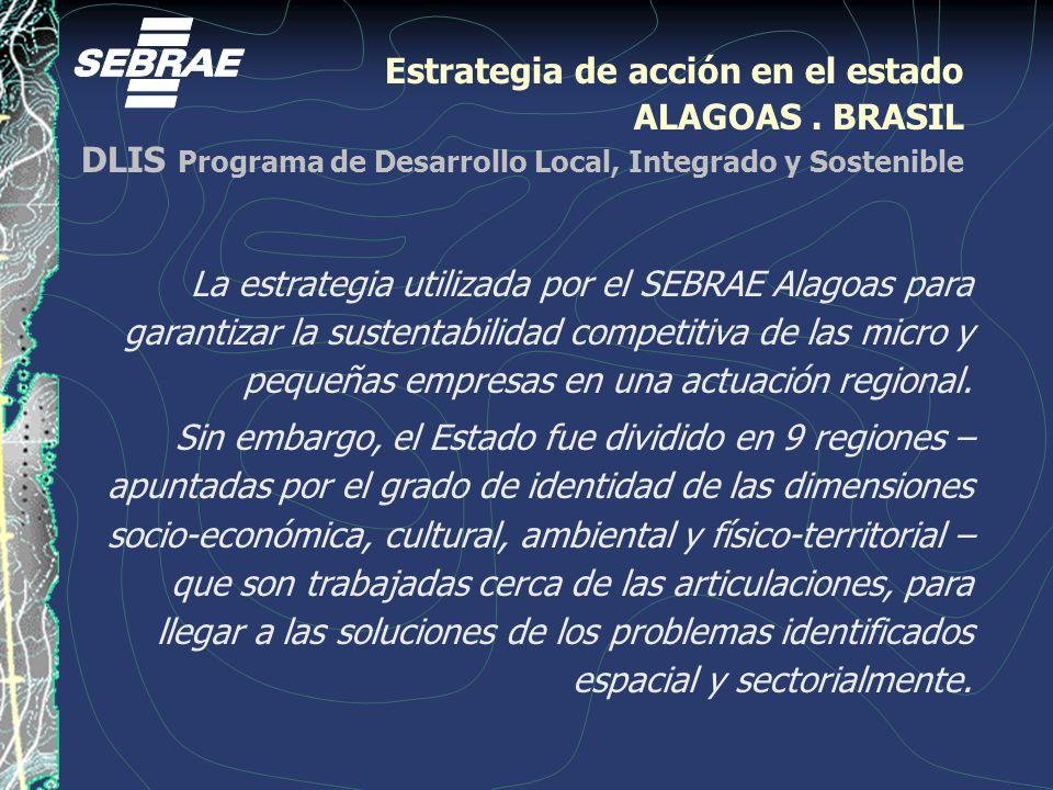 Estrategia de acción en el estado ALAGOAS. BRASIL DLIS Programa de Desarrollo Local, Integrado y Sostenible La estrategia utilizada por el SEBRAE Alag