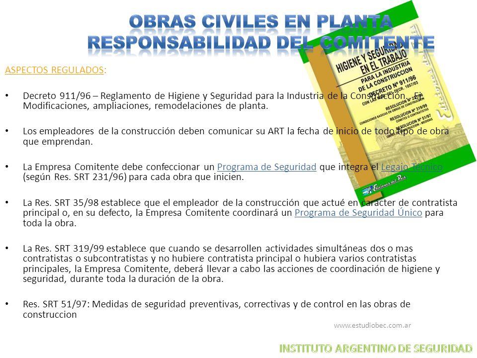 www.estudiobec.com.ar 10 ASPECTOS REGULADOS: Decreto 911/96 – Reglamento de Higiene y Seguridad para la Industria de la Construcción. Ej. Modificacion