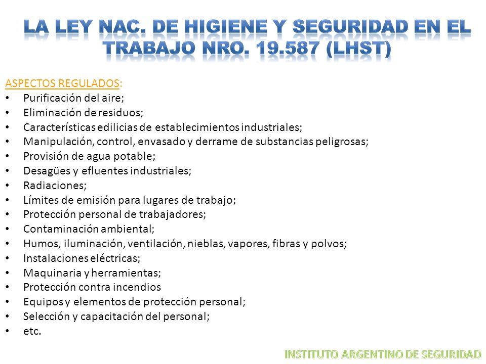 ASPECTOS REGULADOS: Purificación del aire; Eliminación de residuos; Características edilicias de establecimientos industriales; Manipulación, control,