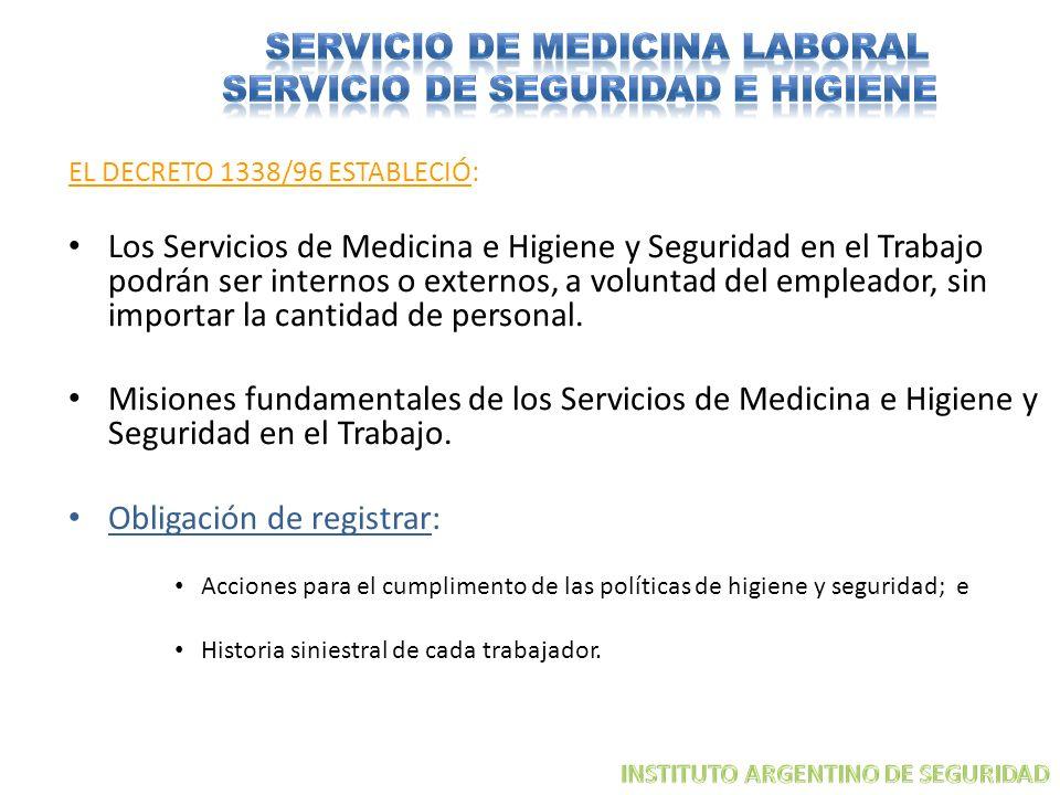 EL DECRETO 1338/96 ESTABLECIÓ: Los Servicios de Medicina e Higiene y Seguridad en el Trabajo podrán ser internos o externos, a voluntad del empleador,