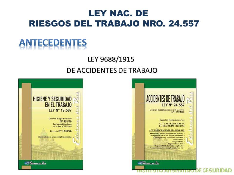 LEY NAC. DE RIESGOS DEL TRABAJO NRO. 24.557 LEY 9688/1915 DE ACCIDENTES DE TRABAJO