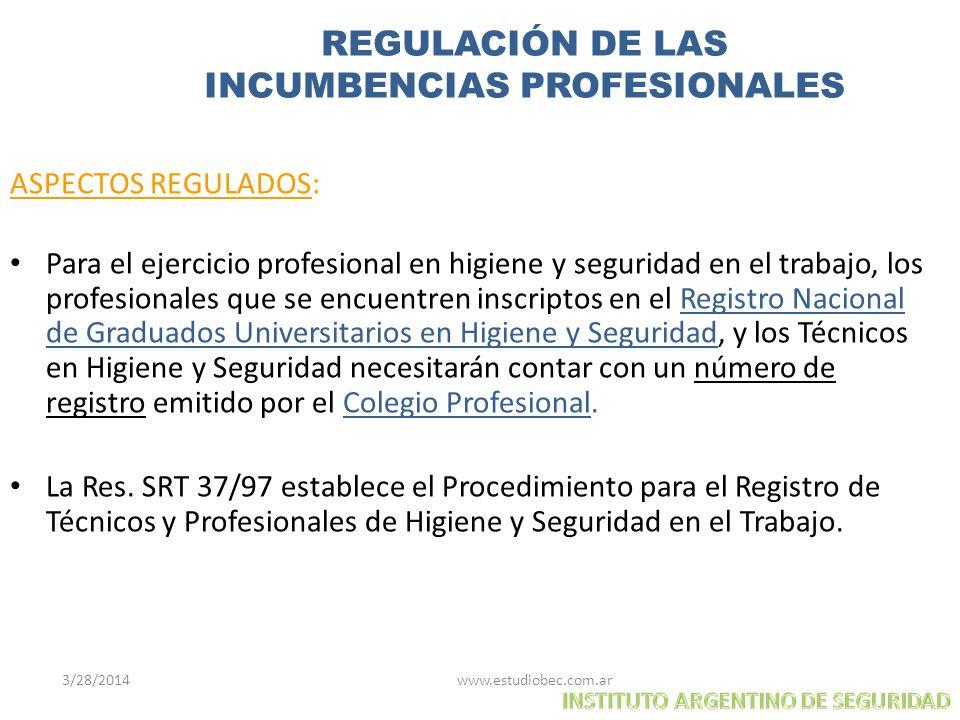 3/28/2014 www.estudiobec.com.ar 21 REGULACIÓN DE LAS INCUMBENCIAS PROFESIONALES ASPECTOS REGULADOS: Para el ejercicio profesional en higiene y segurid