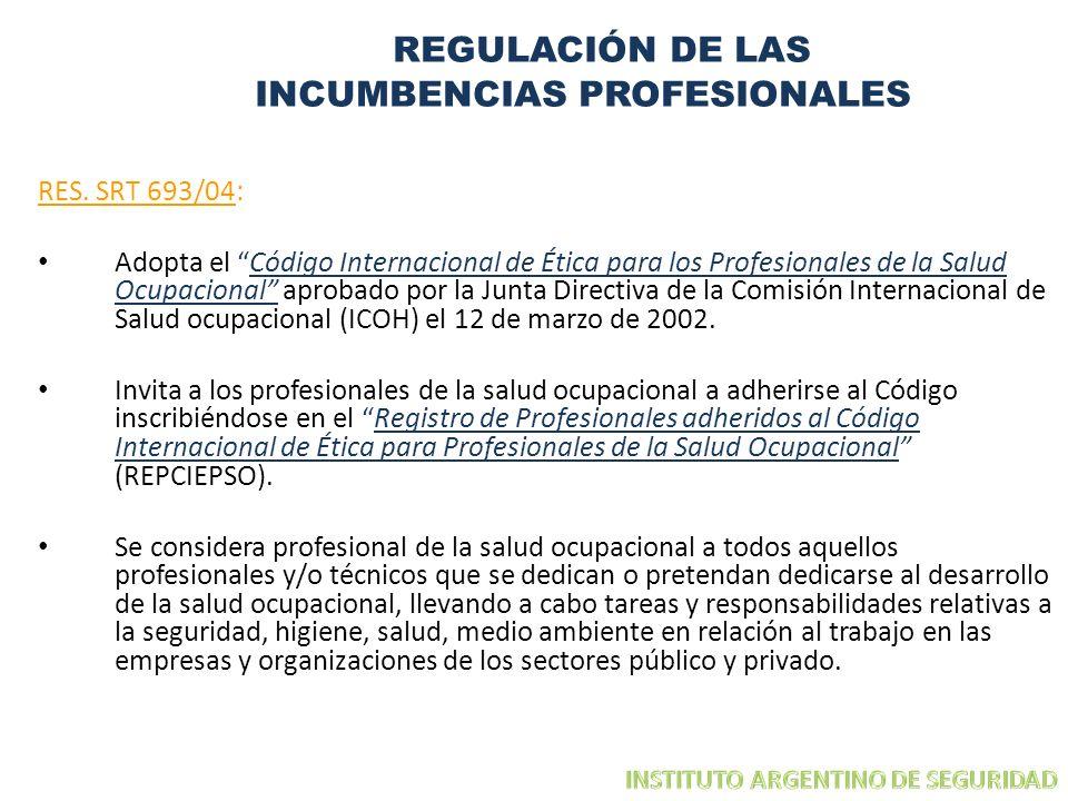 REGULACIÓN DE LAS INCUMBENCIAS PROFESIONALES RES. SRT 693/04: Adopta el Código Internacional de Ética para los Profesionales de la Salud Ocupacional a