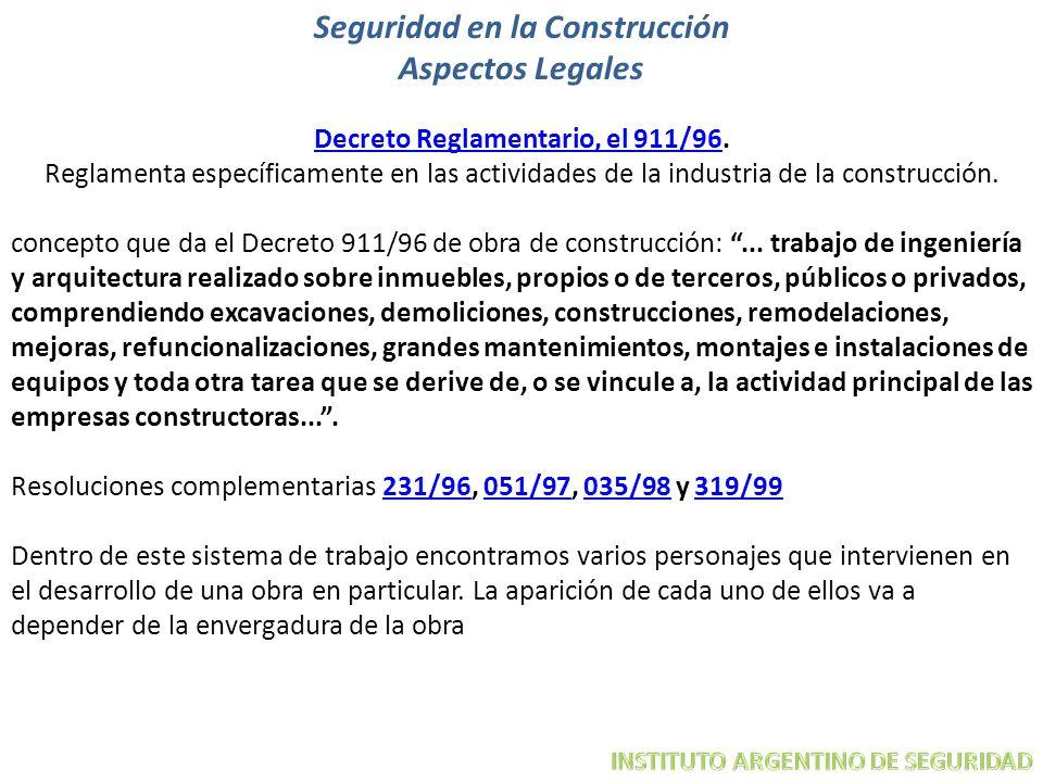Seguridad en la Construcción Aspectos Legales Decreto Reglamentario, el 911/96. Decreto Reglamentario, el 911/96 Reglamenta específicamente en las act