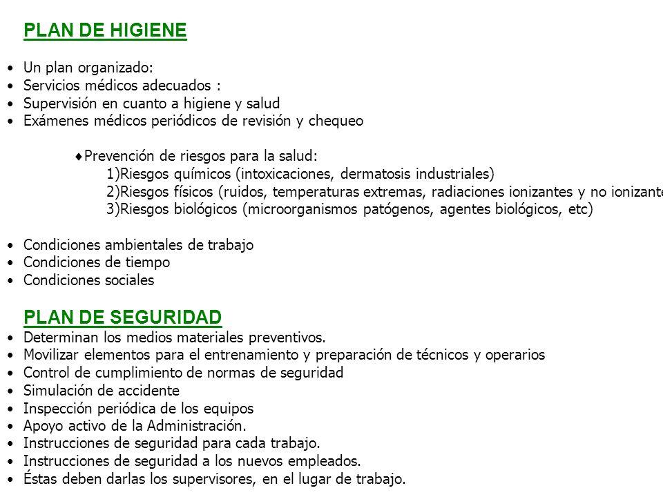 PLAN DE HIGIENE Un plan organizado: Servicios médicos adecuados : Supervisión en cuanto a higiene y salud Exámenes médicos periódicos de revisión y ch