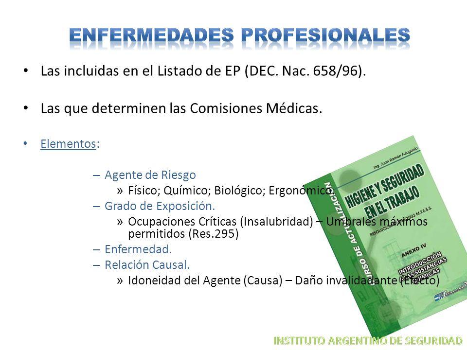 Las incluidas en el Listado de EP (DEC. Nac. 658/96). Las que determinen las Comisiones Médicas. Elementos: – Agente de Riesgo » Físico; Químico; Biol