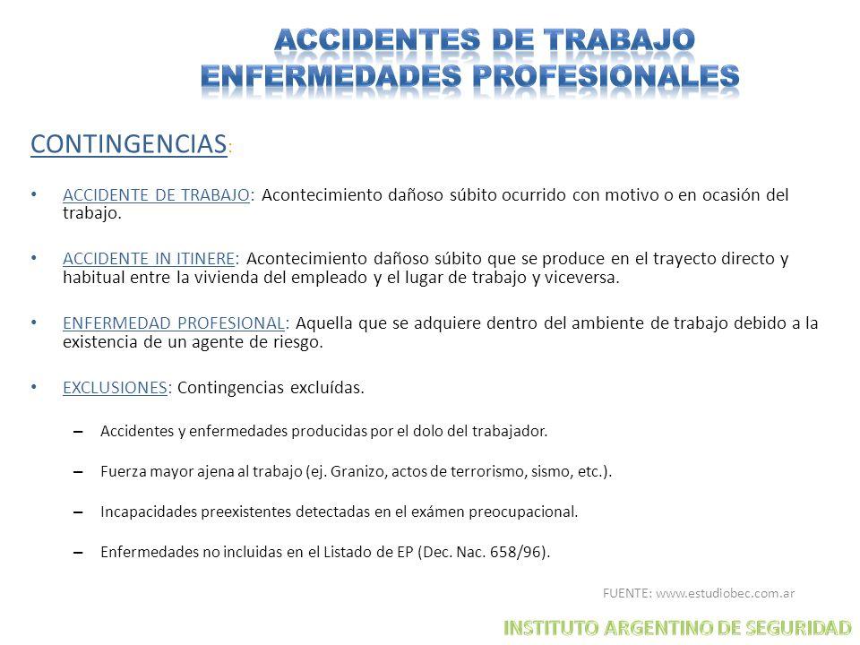 CONTINGENCIAS : ACCIDENTE DE TRABAJO: Acontecimiento dañoso súbito ocurrido con motivo o en ocasión del trabajo. ACCIDENTE IN ITINERE: Acontecimiento