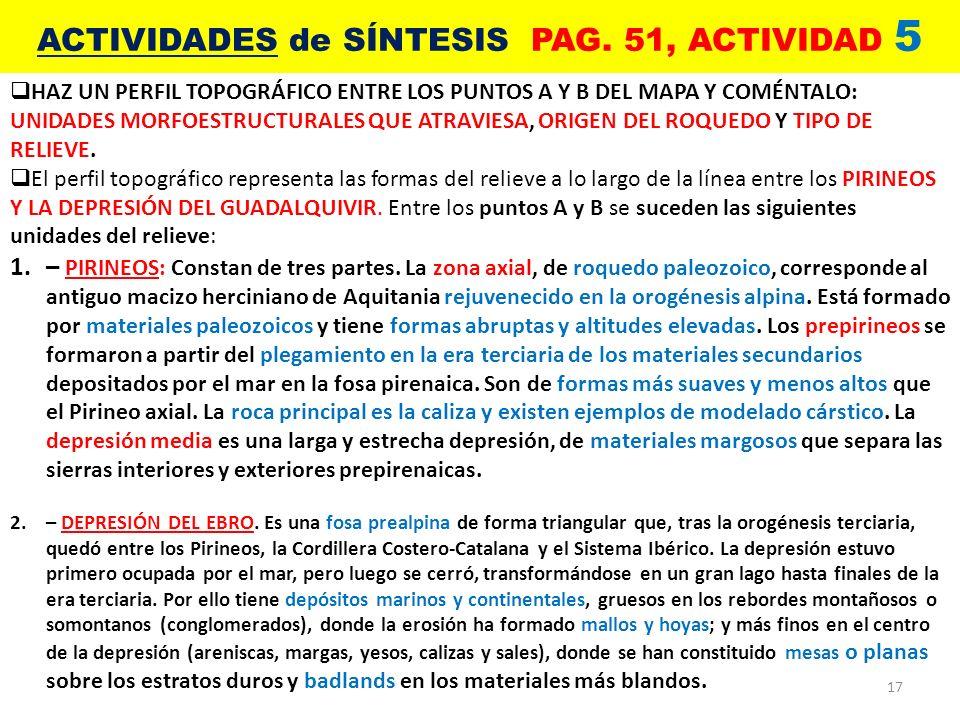 17 ACTIVIDADES de SÍNTESIS PAG. 51, ACTIVIDAD 5 HAZ UN PERFIL TOPOGRÁFICO ENTRE LOS PUNTOS A Y B DEL MAPA Y COMÉNTALO: UNIDADES MORFOESTRUCTURALES QUE