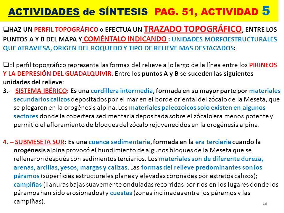 18 ACTIVIDADES de SÍNTESIS PAG. 51, ACTIVIDAD 5 HAZ UN PERFIL TOPOGRÁFICO o EFECTUA UN TRAZADO TOPOGRÁFICO, ENTRE LOS PUNTOS A Y B DEL MAPA Y COMÉNTAL