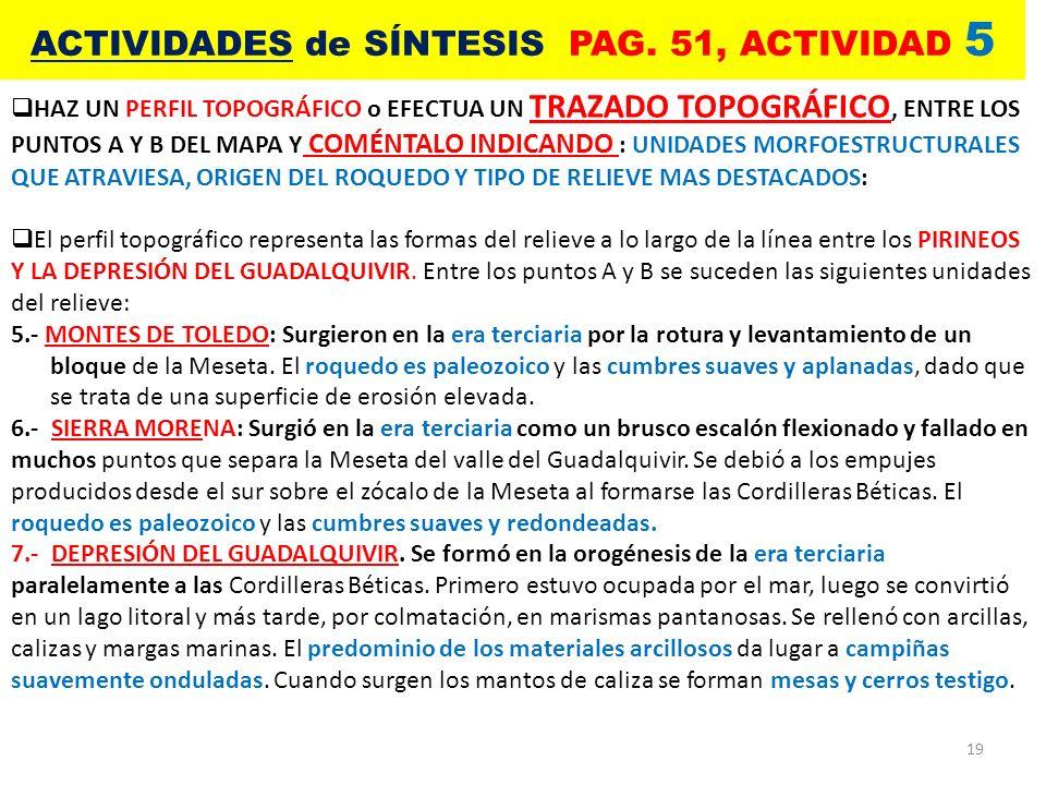 19 ACTIVIDADES de SÍNTESIS PAG. 51, ACTIVIDAD 5 HAZ UN PERFIL TOPOGRÁFICO o EFECTUA UN TRAZADO TOPOGRÁFICO, ENTRE LOS PUNTOS A Y B DEL MAPA Y COMÉNTAL