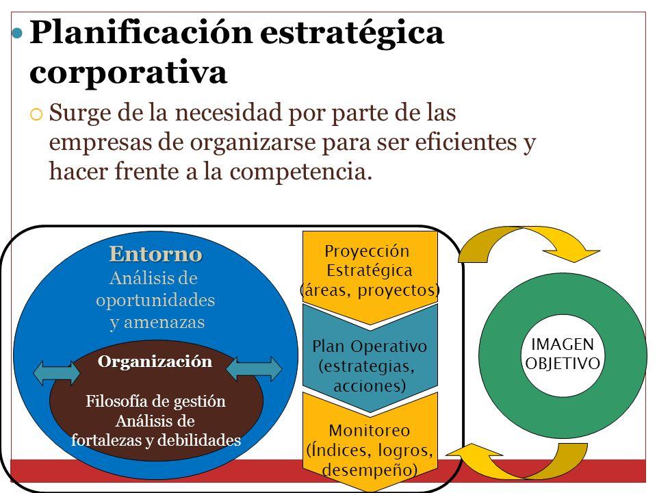 Planificación estratégica corporativa Surge de la necesidad por parte de las empresas de organizarse para ser eficientes y hacer frente a la competenc