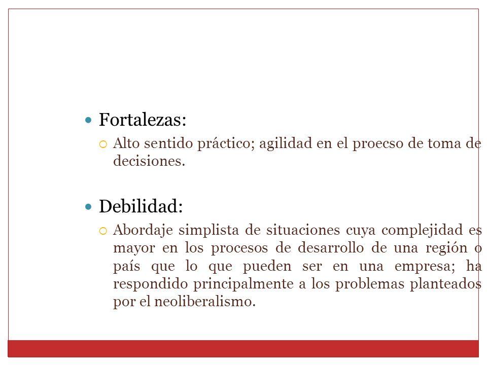 Fortalezas: Alto sentido práctico; agilidad en el proecso de toma de decisiones. Debilidad: Abordaje simplista de situaciones cuya complejidad es mayo