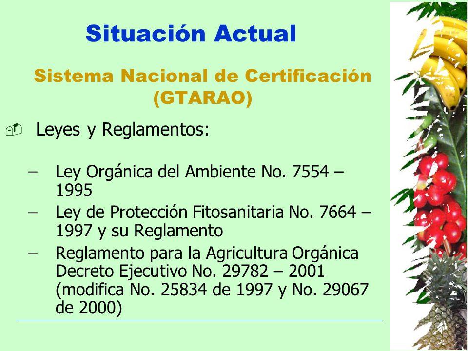 Sistema Nacional de Certificación (GTARAO) Leyes y Reglamentos: –Ley Orgánica del Ambiente No. 7554 – 1995 –Ley de Protección Fitosanitaria No. 7664 –