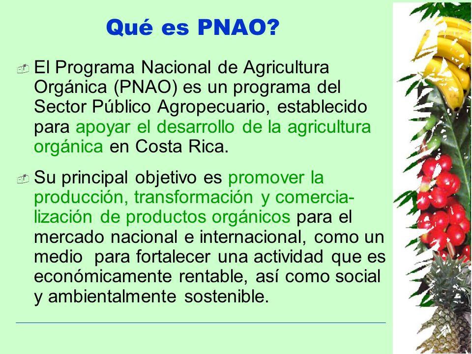 Qué es PNAO? El Programa Nacional de Agricultura Orgánica (PNAO) es un programa del Sector Público Agropecuario, establecido para apoyar el desarrollo