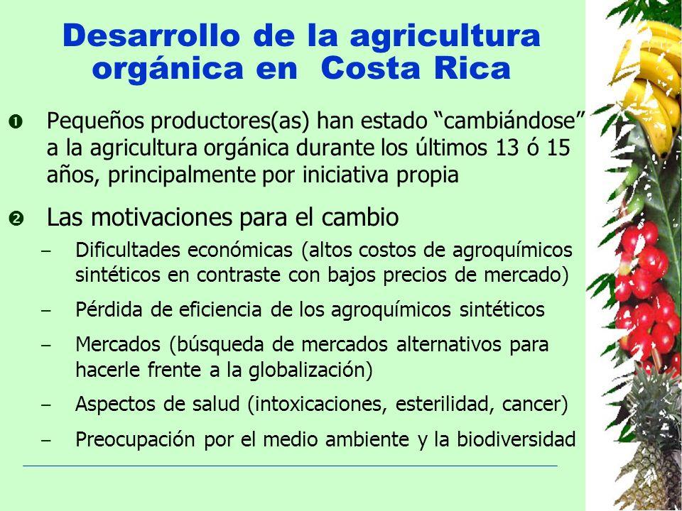 Desarrollo de la agricultura orgánica en Costa Rica Pequeños productores(as) han estado cambiándose a la agricultura orgánica durante los últimos 13 ó