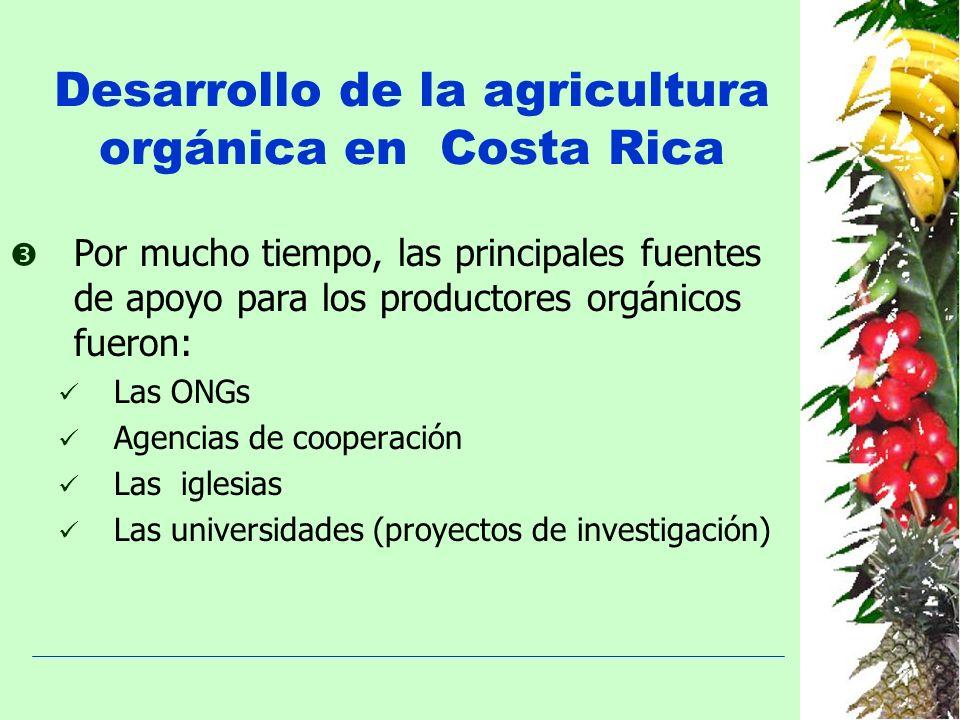 Desarrollo de la agricultura orgánica en Costa Rica Por mucho tiempo, las principales fuentes de apoyo para los productores orgánicos fueron: Las ONGs