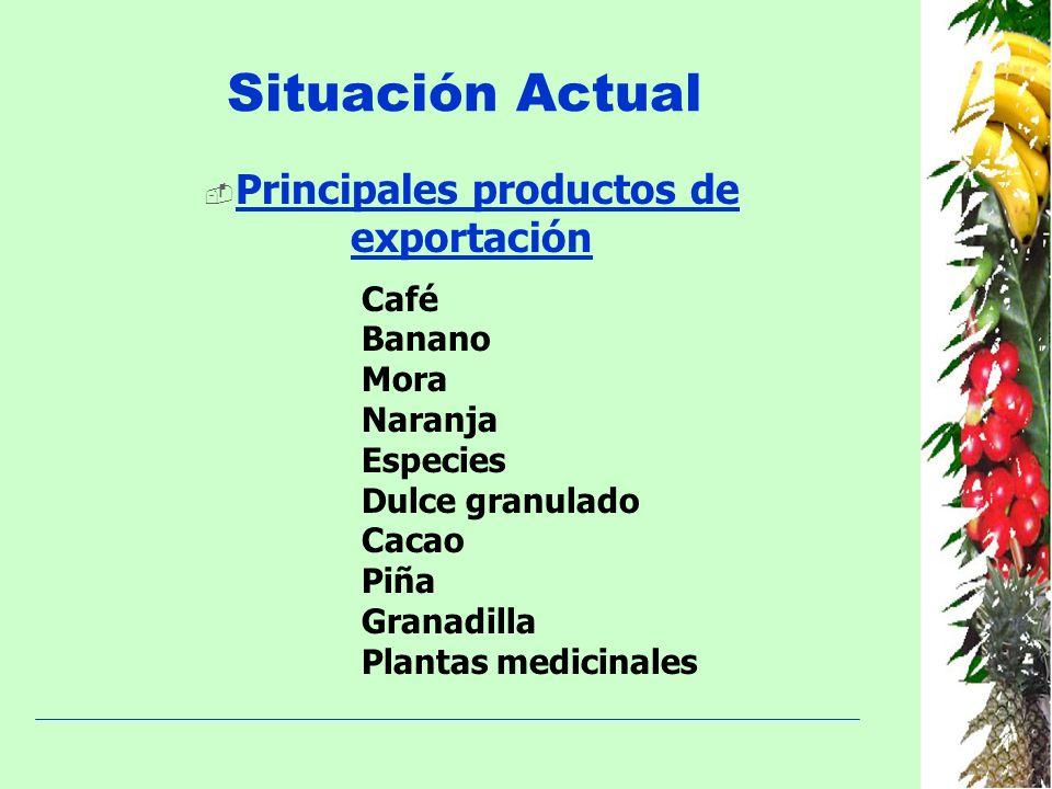 Situación Actual Principales productos de exportación Café Banano Mora Naranja Especies Dulce granulado Cacao Piña Granadilla Plantas medicinales