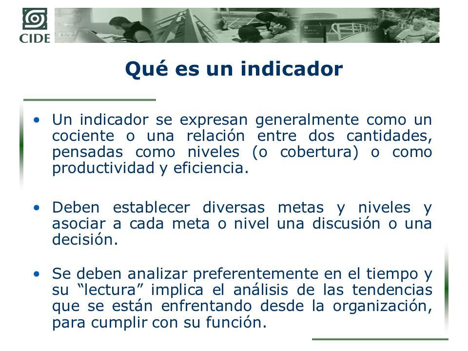Qué es un indicador Un indicador se expresan generalmente como un cociente o una relación entre dos cantidades, pensadas como niveles (o cobertura) o como productividad y eficiencia.