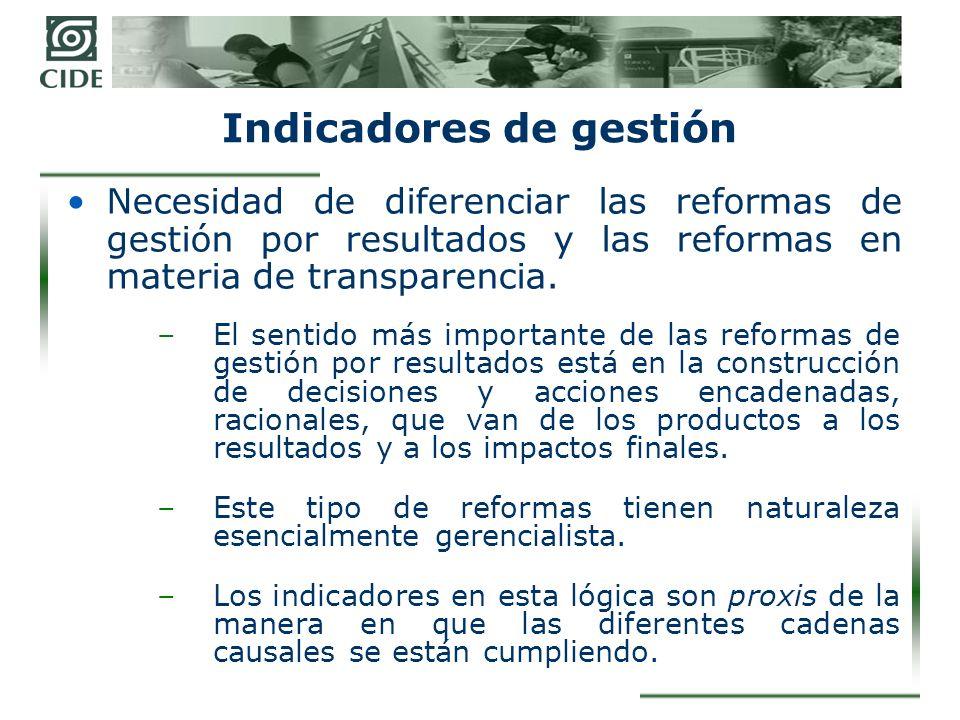 Indicadores de gestión Necesidad de diferenciar las reformas de gestión por resultados y las reformas en materia de transparencia.