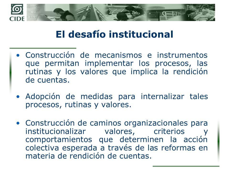 Retos planteados a las organizaciones públicas con las reformas Estimación y asunción de costos de implementación de los instrumentos y sus efectos: –Cambios discursivos –Reestructuración de comportamientos –Afectación de rutinas –Afectación de estructuras de poder –Resistencia a las reformas –Procesos de aprendizaje organizacional complejos