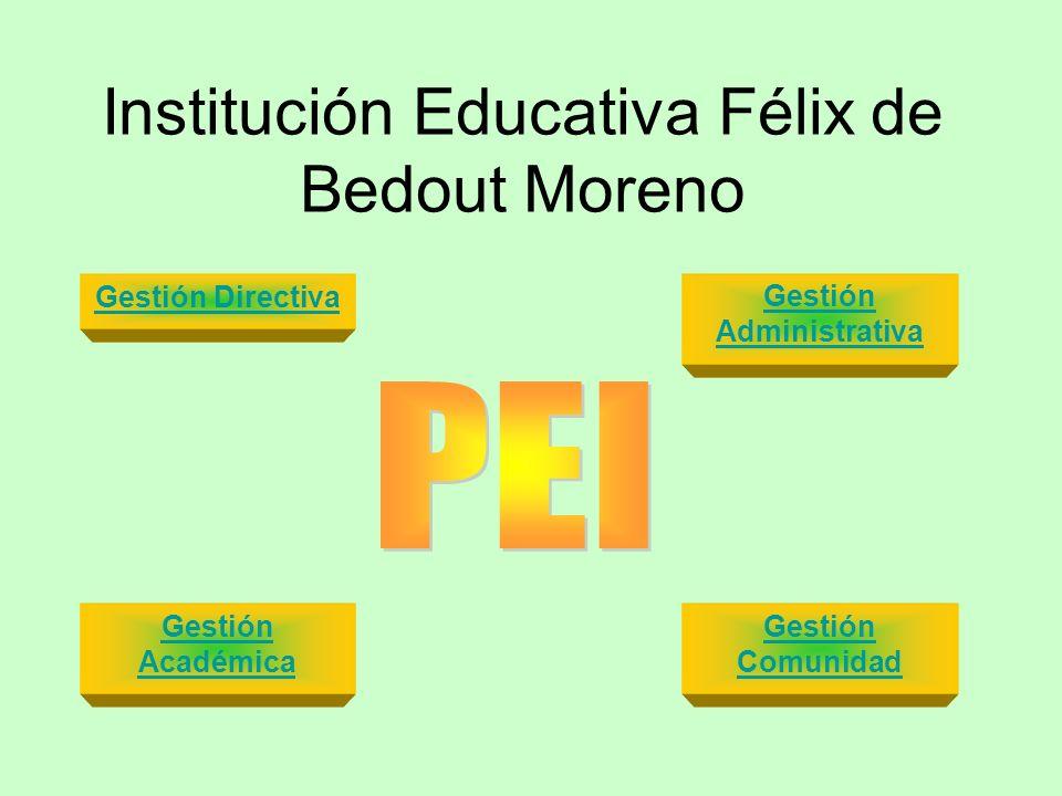 Institución Educativa Félix de Bedout Moreno Gestión Administrativa Gestión Comunidad Gestión Directiva Gestión Académica