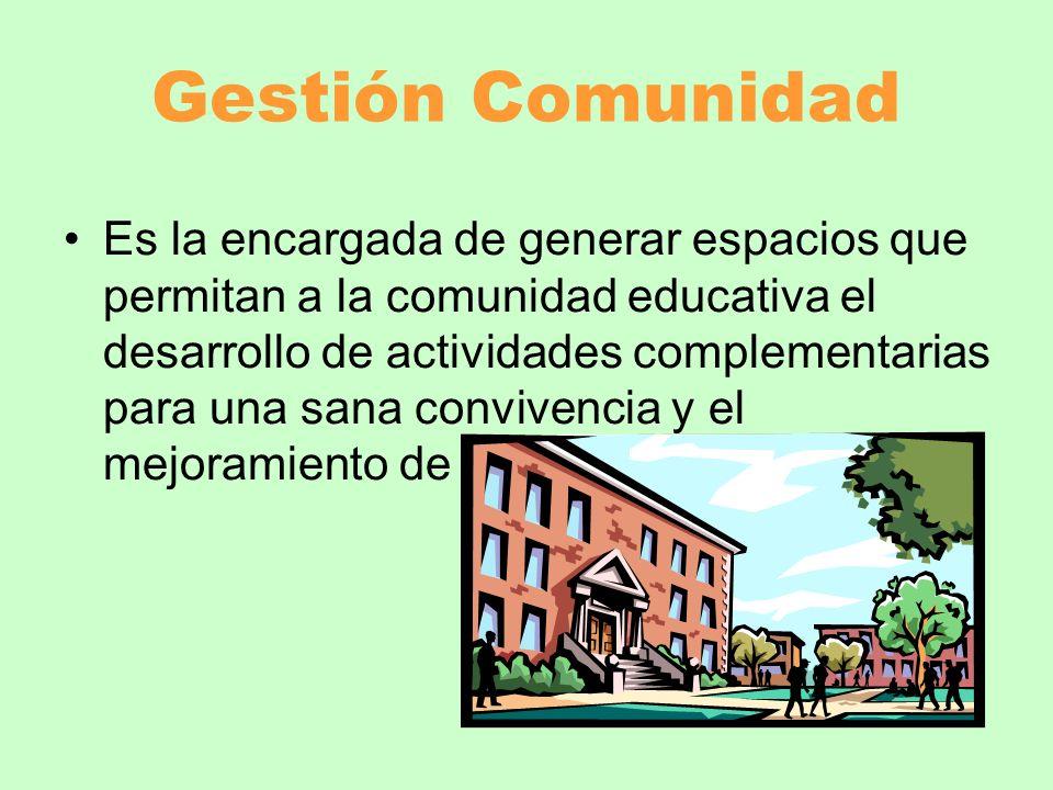 Gestión Comunidad Es la encargada de generar espacios que permitan a la comunidad educativa el desarrollo de actividades complementarias para una sana