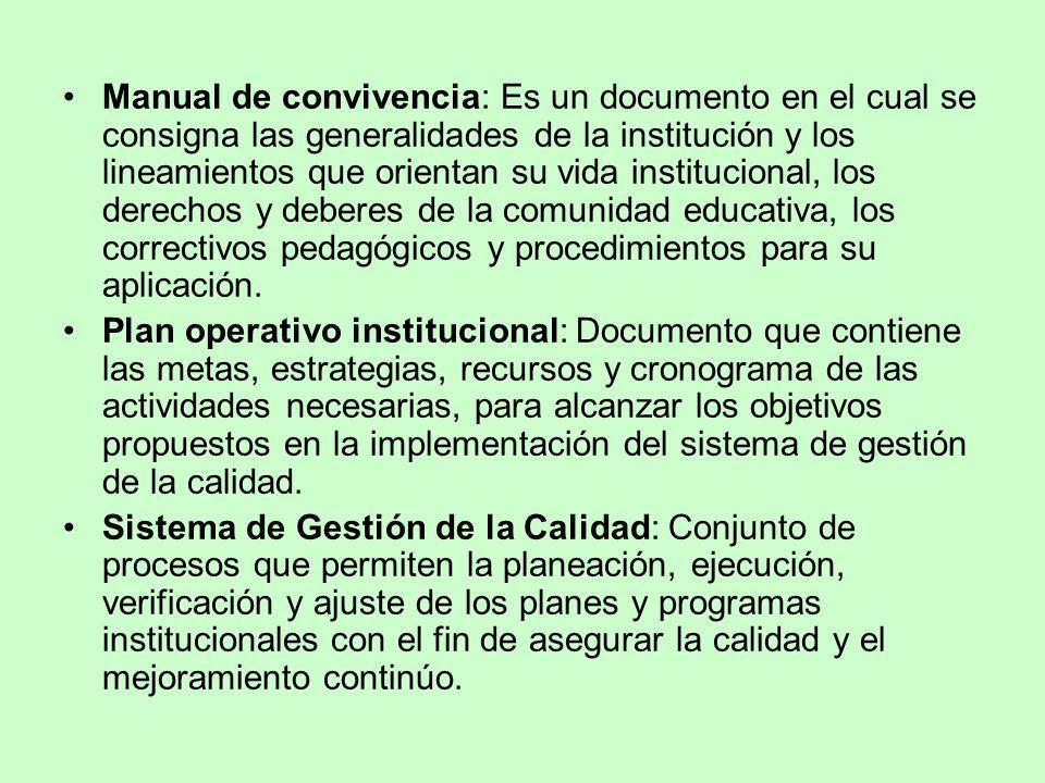 Manual de convivencia: Es un documento en el cual se consigna las generalidades de la institución y los lineamientos que orientan su vida instituciona
