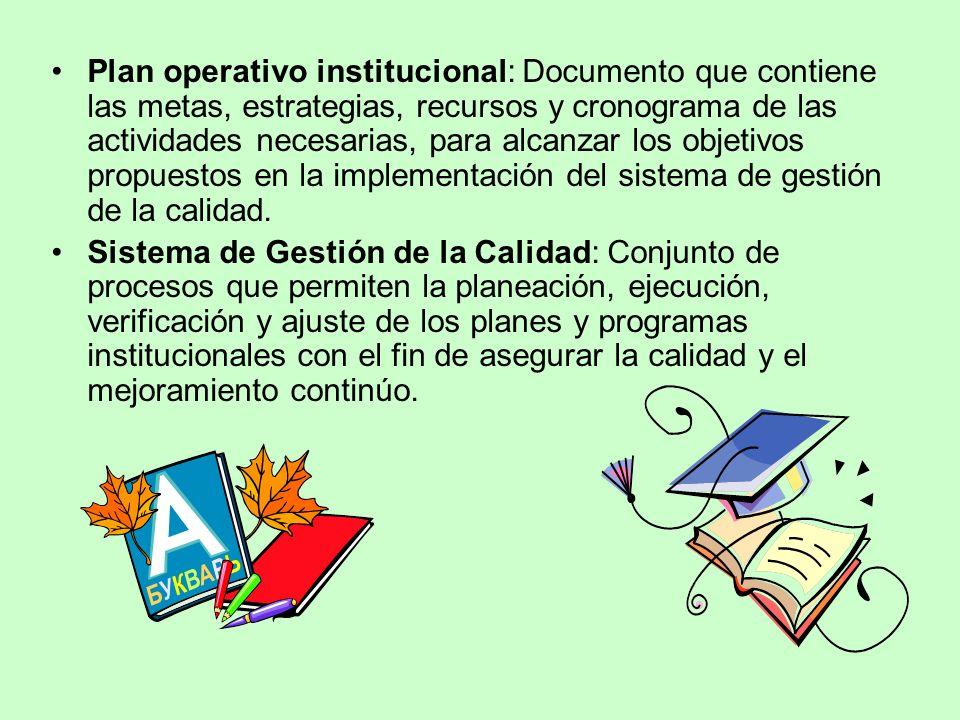 Plan operativo institucional: Documento que contiene las metas, estrategias, recursos y cronograma de las actividades necesarias, para alcanzar los ob
