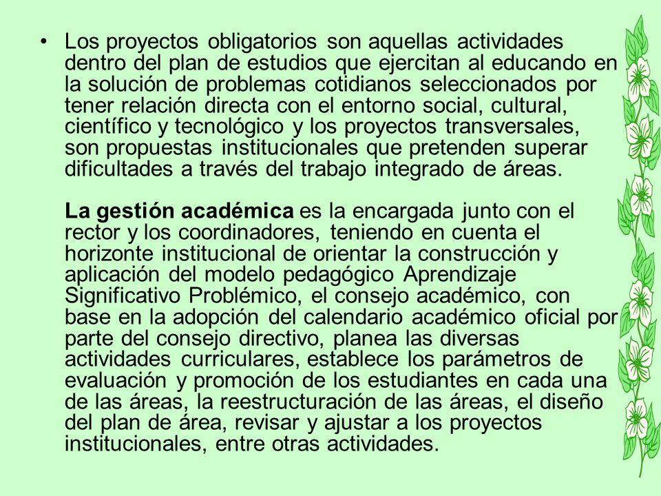 Los proyectos obligatorios son aquellas actividades dentro del plan de estudios que ejercitan al educando en la solución de problemas cotidianos selec