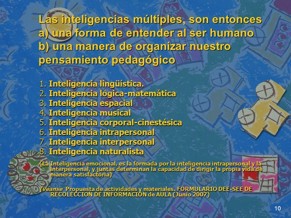 10 Las inteligencias múltiplesson entonces a) una forma de entender al ser humano b) una manera de organizar nuestro pensamiento pedagógico Las inteli