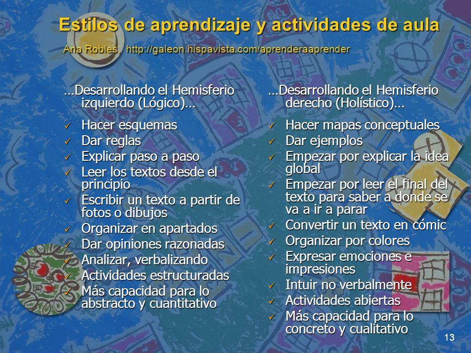 13 Estilos de aprendizaje y actividades de aula Ana Robles, http://galeon.hispavista.com/aprenderaaprender …Desarrollando el Hemisferio izquierdo (Lóg