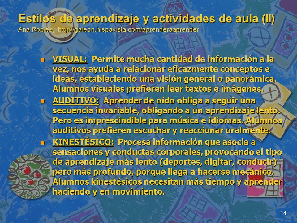 14 Estilos de aprendizaje y actividades de aula (II) Ana Robles, http://galeon.hispavista.com/aprenderaaprender n VISUAL: Permite mucha cantidad de in