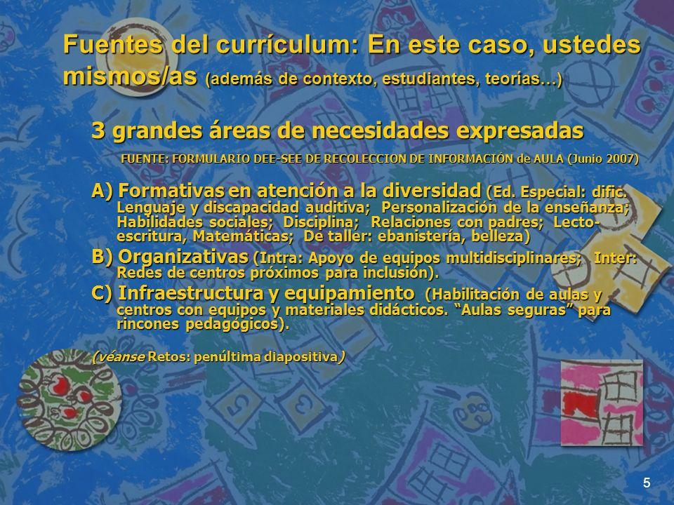 5 Fuentes del currículum: En este caso, ustedes mismos/as (además de contexto, estudiantes, teorías…) 3 grandes áreas de necesidades expresadas FUENTE: FORMULARIO DEE-SEE DE RECOLECCION DE INFORMACIÓN de AULA (Junio 2007) FUENTE: FORMULARIO DEE-SEE DE RECOLECCION DE INFORMACIÓN de AULA (Junio 2007) A) Formativas en atención a la diversidad (Ed.